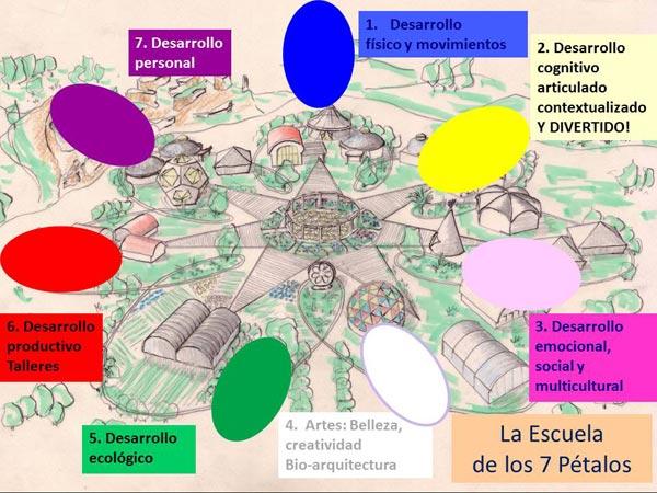 Gráfico que representa las bases de una escuela de los 7 petalos