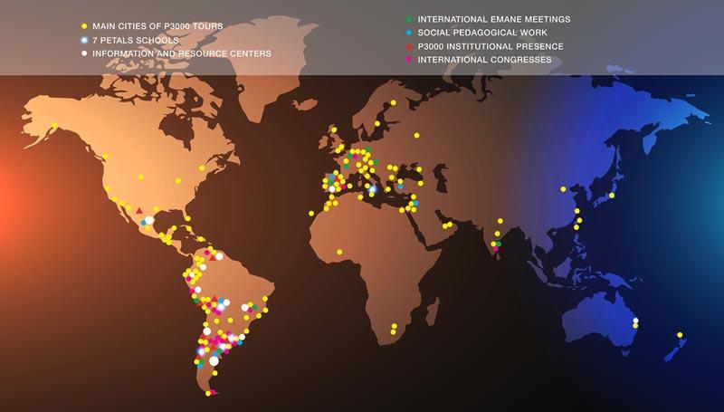 Mappemonde de toutes les activités mises en œuvre par Educatiooon 3000 depuis 2001
